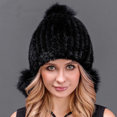 Black Knitted Mink Fur Hat with 3 pompons