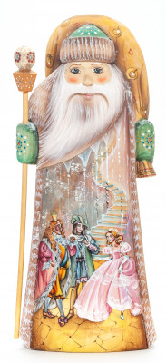 230 mm Santa with a Magic Staff and a Bag with handpainted Cinderella Wooden Carved Statue (by Igor Carved Wooden Figures Studio)