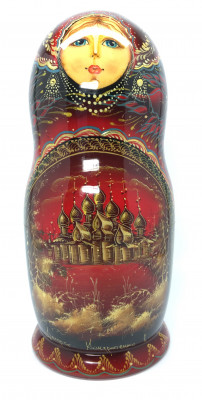 200 mm Russian Wooden Northern Churches hand painted on Matryoshka doll 5 pcs (by A Studio)