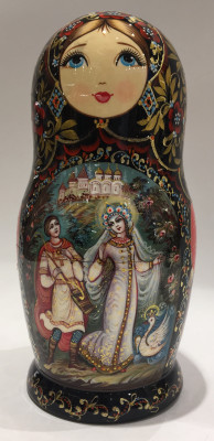 200 mm Ruslan and Ludmila Fairy tale scenes hand painted wooden Matryoshka doll 5 pcs (by A Studio)