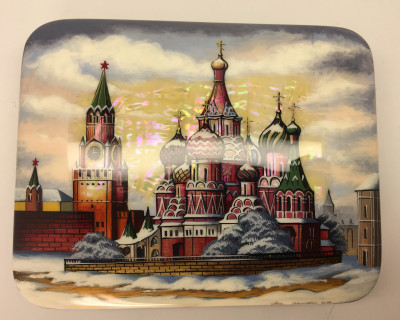 140 x 110 mm Moscow Winter hand painted lacquered box from Fedoscino (by Mihail Studio)
