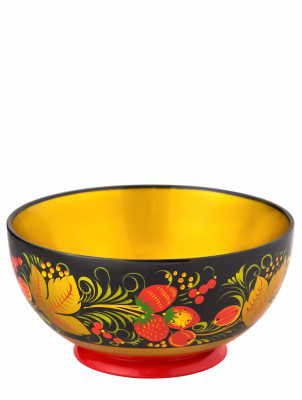 70x140 Khokhloma handpainted Open Small Vegetable Bowl wooden