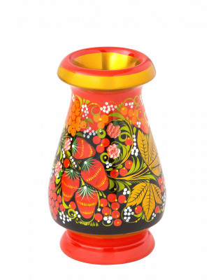 130x80 mm Khokhloma hand painted wooden Vase (by Golden Khokhloma)