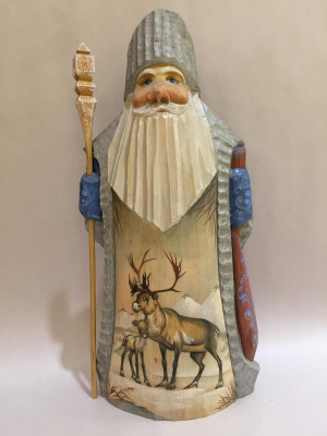 santa with painted deer and fawn