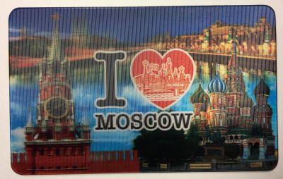 I Love Moscow Kremlin 3D Hologram Fridge Magnet (by AKM Gifts)