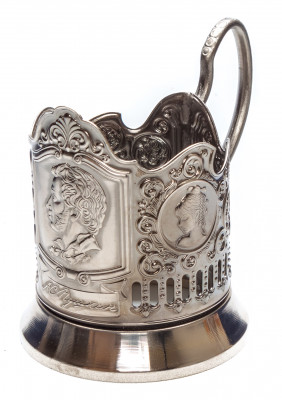 Pushkin Nickel Plated Brass Tea Glass Holder with Faceted Glass (by Kolchugino)