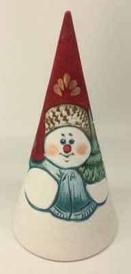 150 mm Snowman Hand Carved and Painted Matryoshka Pyramide shape 3 pcs inside (by Sergey Carved Wooden Dolls Studio)