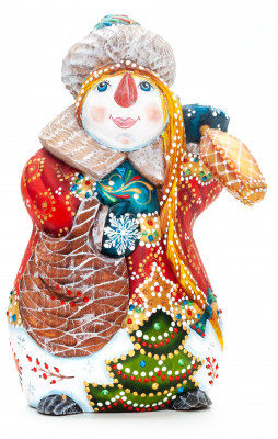 180 mm Snowman with a Lamp hand painted wooden figurine (by Natalia Nikitina Workshop)