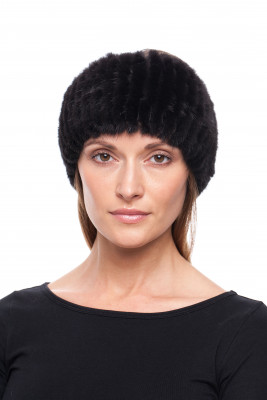 Black Knitted Mink Fur Headband