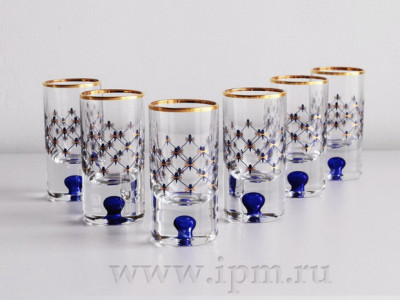 Set of 6 pcs 76 mm Cobalt Net Shot Glass 30 ml (16.1 fl.oz) Imperial Porcelain Factory