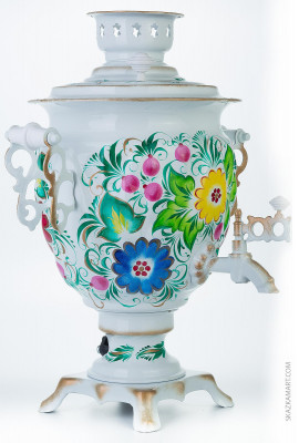 Flower Bouquet Hand Painted Electric Samovar Kettle