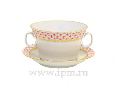 Imperial Net porcelain Cup and Saucer for Bouillon (by Imperial Porcelain Factory)