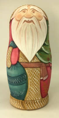 190 mm Santa Claus Hand Carved and Painted Matryoshka Doll 5 pcs inside (by Sergey Carved Wooden Dolls Studio)