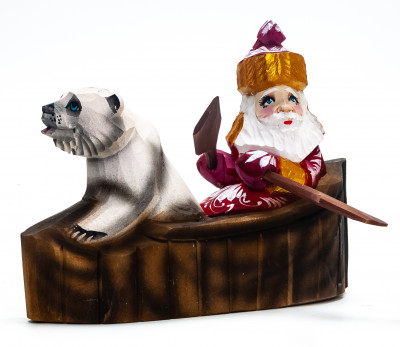 120 mm Santa Sailing a Boat with a Bear handpainted Wooden Carved Statue (by Igor Carved Wooden Figures Studio)
