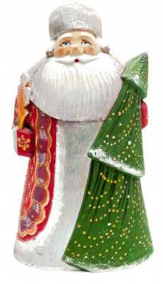 220  mm Santa with a Green Christmas Tree Carved Wood Hand Painted Collectible Figurine (by Igor Carved Wooden Figures Studio)