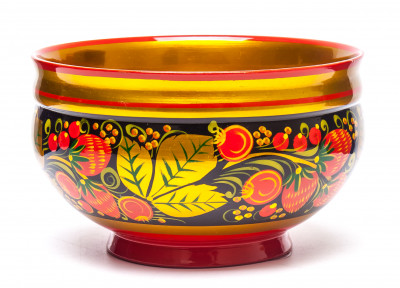 80x120 mm Khokhloma hand painted wooden Sugar Bowl (by Golden Khokhloma)