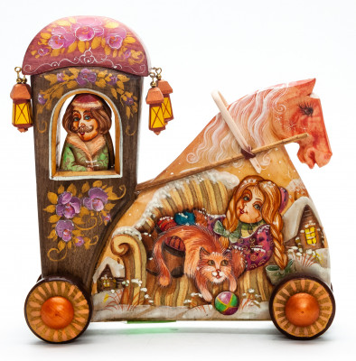 160 mm Carriage with hand painted Boy with the Dog World Wooden Statue (by Vladislav Toys)