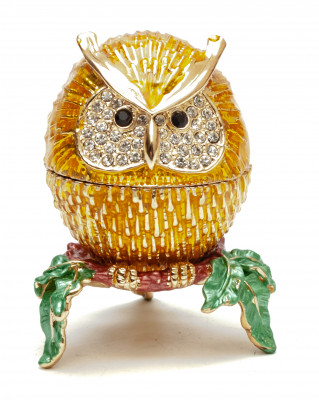 50 mm Small Owl Golden Jewellery Box