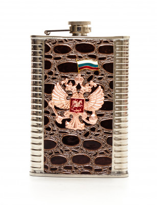 9 oz Russia Coat of Arms Leather Coated Metal Flask