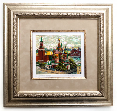 390x370 mm Red Square hand painted on Nacre Fedoscino painting (by Tatiana Fedoscino Arts)