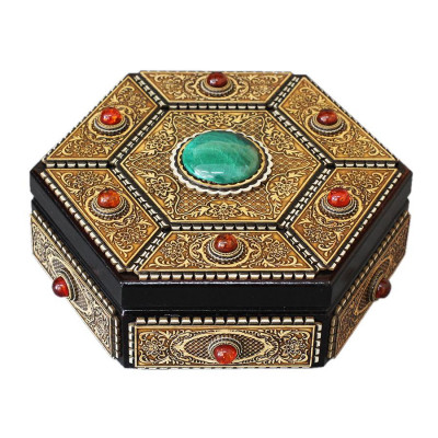 d180 mm Russian Patterns hand made Birchbark Jewelry Box decorated with Malachite and Amber (by Birch Gifts)