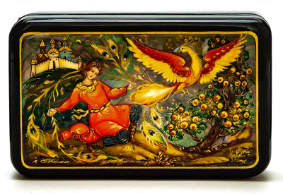 130x800mm Firebird hand painted lacquered box from Palekh (by Pavel Studio)