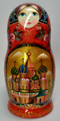 180 mm Moscow Snt Basil Cathedral hand painted on wooden Matryoshka doll 5 pcs (by A Studio)