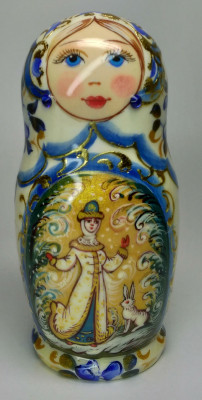 110 mm Snowmaiden hand painted on wooden Matryoshka doll 5 pcs (by A Studio)