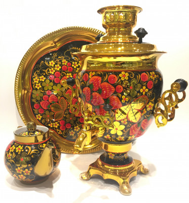 Khohloma Russian Electric Samovar Kettle with Teapot and Tray