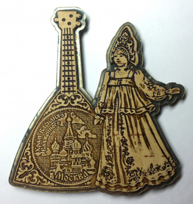 Moscow Snt Basil Cathedral on Balalayka and Russian Girl hand carved and burnt Birch Bark Fridge Magnet (by Maxim Studio)