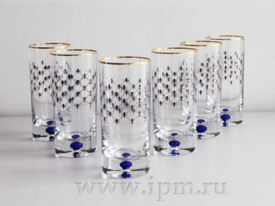 Set of 158 mm Cobal Net Water Glass 300 ml (19.3 fl.oz) Imperial Porcelain Factory