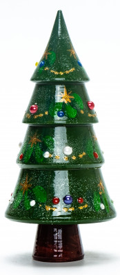 150 mm Christmas Wooden Green Tree with Hand Painted Garlands and Decorations
