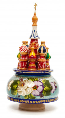 210 mm Saint Basil's Cathedral Zhostovo Art hand painted Wooden Music Box (by Nightingale Crafts)