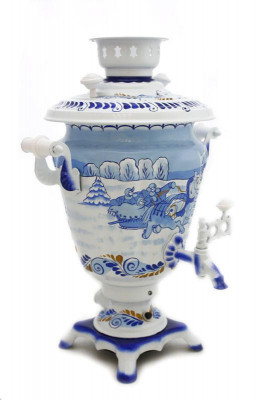 Winter Troika Hand Painted Electric Samovar Kettle