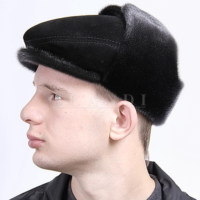 Black Suede Cap Bugatti with Ear flaps and Seal Fur (by Scandi Furs)