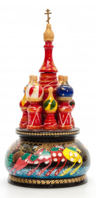 190 mm Saint Basil's Cathedral Russian Troika hand painted Wooden Music Box (by Nightingale Crafts)