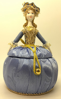 Girl in a Little Hat and Nice Dress Jewelry Box (hand-sewn Doll by Le Russe)