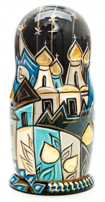 160mm Moscow Snt Basil Cathedral hand painted by Lentuloff on wooden Matryoshka doll 5 pcs (by A Studio)