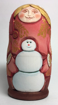 110 mm Girl with Snowman Hand Carved and Painted Matryoshka shape 3 pcs inside (by Sergey Carved Wooden Dolls Studio)