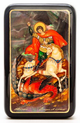 80x130mm Icon of Saint George hand painted lacquered box from Palekh (by Pavel Studio)