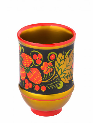 100x70 mm Khokhloma hand painted wooden Cup (by Golden Khokhloma)