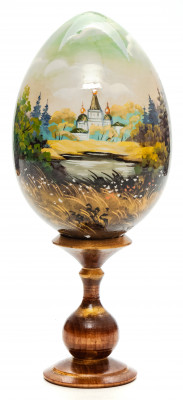 180mm Church in the Meadow hand painted wooden Egg with standby (by Tatiana Crafts)