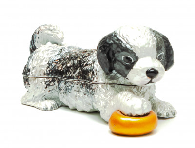 35 mm Puppy with a Bowl Jewellery Box