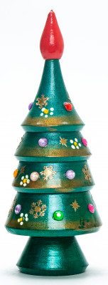 160 mm Christmas Wooden Green Tree with Hand Painted Garlands and Decorations