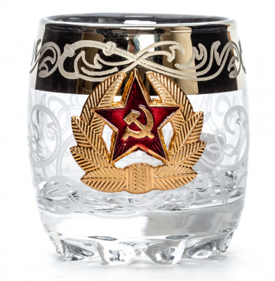 80 ml Soldier Badge for hat of USSR Army Crystall Glass Shot Glass
