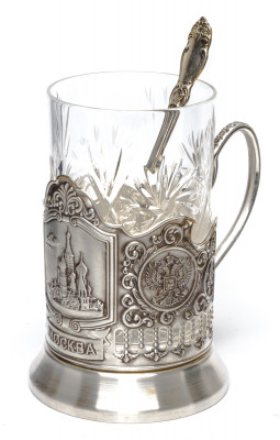 Snt Basil Cathedral Silver Plated Brass Tea Glass Holder with Faceted Glass and Silver Plated Spoon (by Kolchugino)