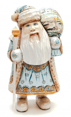 230 mm Santa with a Magic Staff and a Bag handpainted Wooden Carved Statue (by Sergey Christmas Workshop)