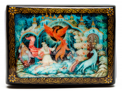 100x70mm Ivan Tsarevich an the Grey Wolf Hand Painted Jewellery Box (by Sadko Workshop)