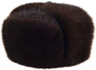 Brown Muskrat Fur Hat with Ear flaps and Fur top (by Skazka Furs)