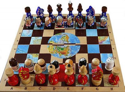 Wooden Chess Board with USSR USA Presidents Hand Painted Chess Pieces